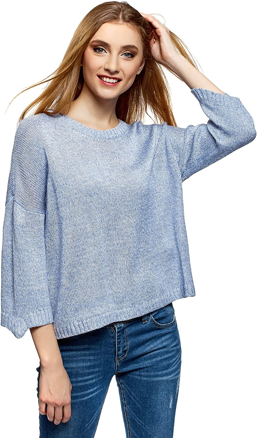 oodji Ultra Femme Pull Coupe Ample Aspect Maille Chin/ée