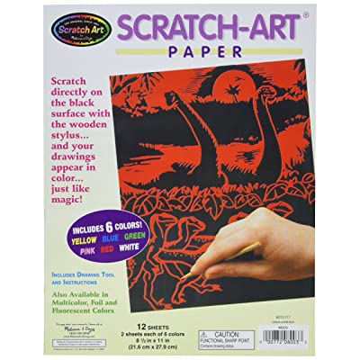 Melissa & Doug Scratch Art Paper Solid Color Assortment With Stylus (12 Sheets, 6 Colors, Great Gift for Girls and Boys - Best for 5, 6, 7, 8, 9 Year Olds and Up): Melissa & Doug: Toys & Games