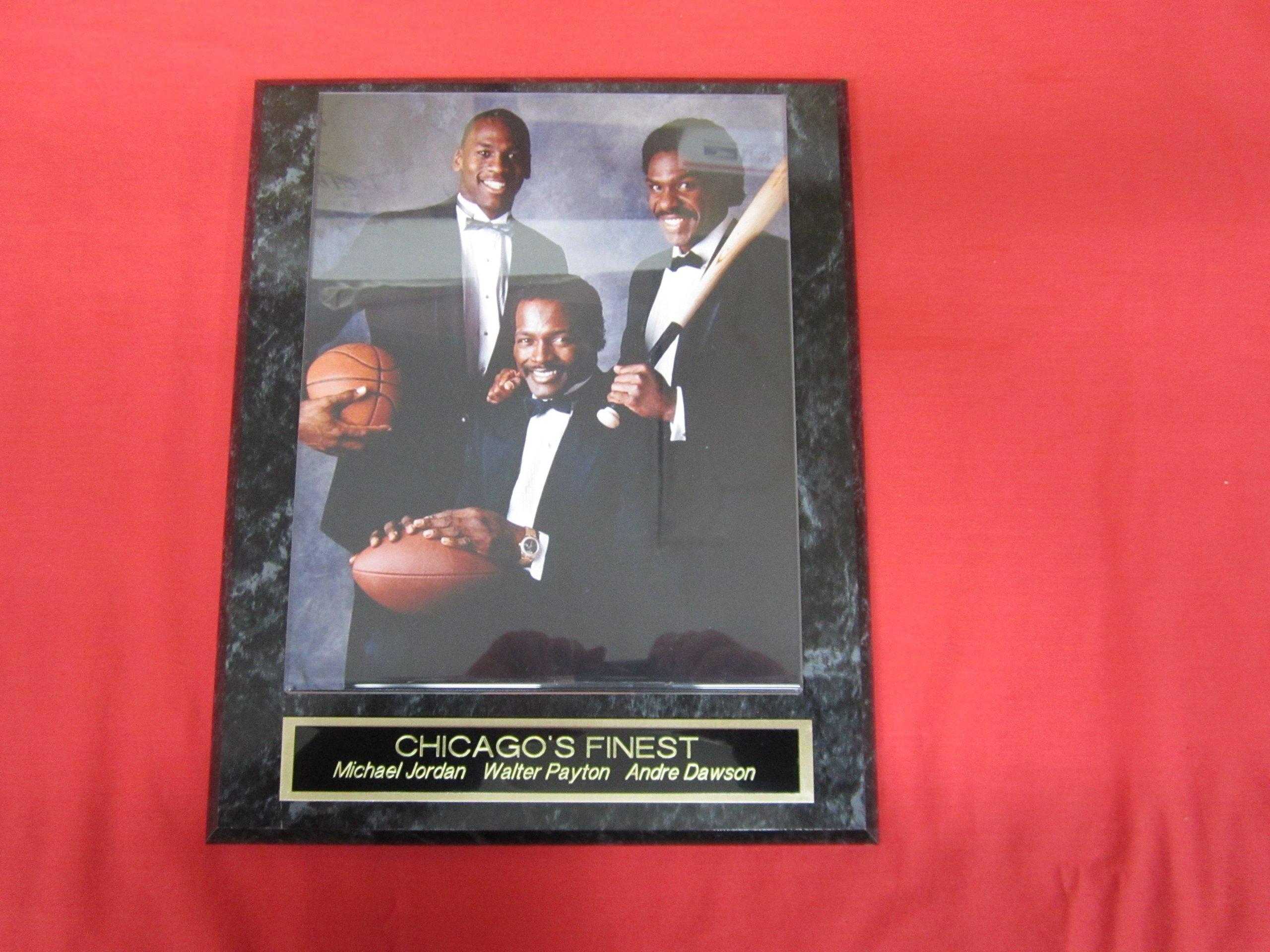 Michael Jordan Andre Dawson Walter Payton Collector Plaque w/8x10 RARE Photo