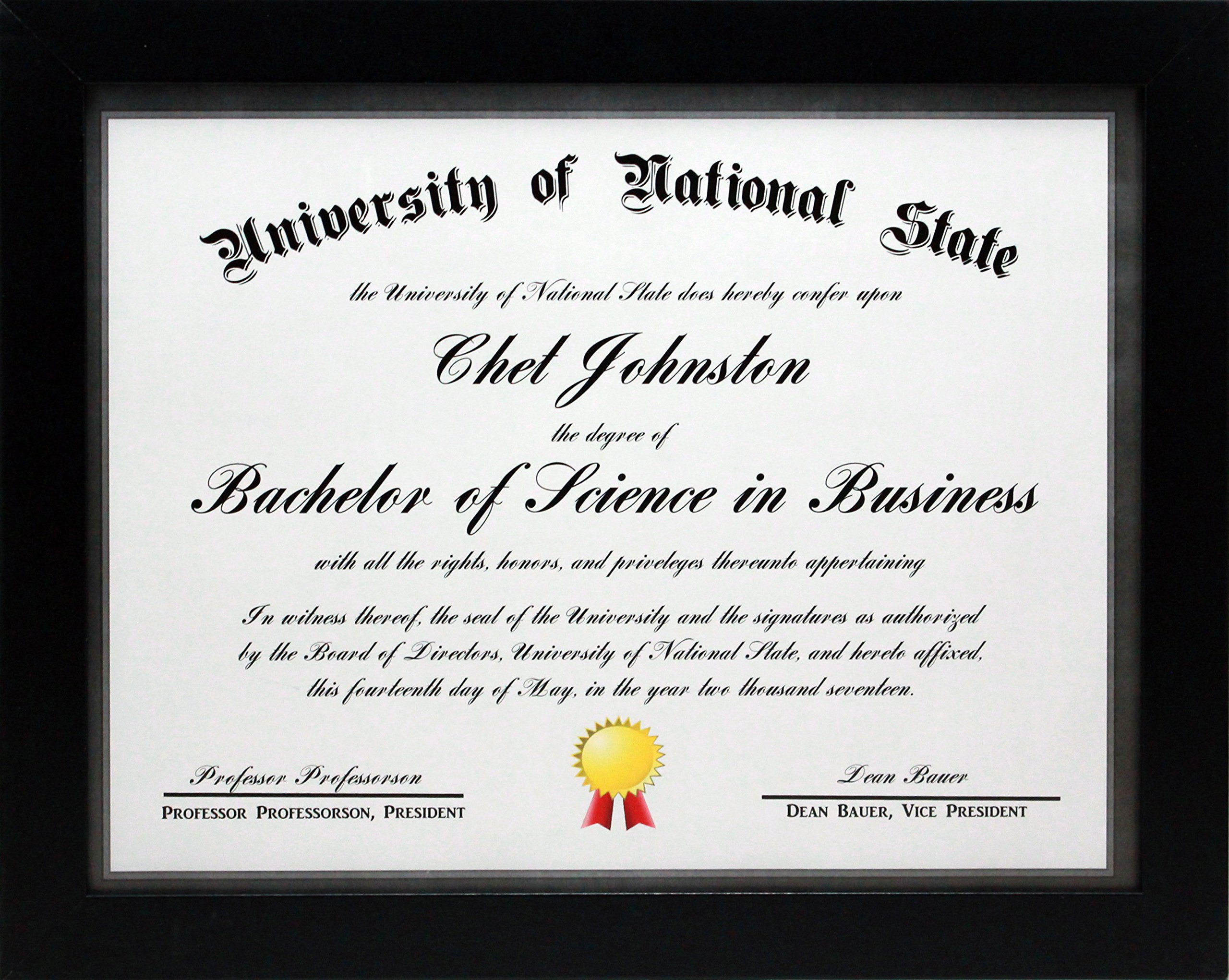 8.5x11 Black Gallery Certificate and Document Frame - Wide Molding - Includes both Attached Hanging Hardware and Desktop Easel - Certificates, Documents, a Diploma, or a Photo (8.5x11)