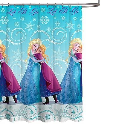 Disney Frozen 70quot X 72quot Blue PEVA Shower Curtain With Princess