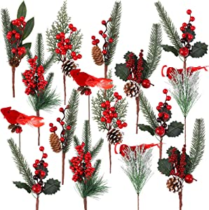 URATOT 16 Pack Artificial Christmas Picks 13.8 Inches Pine Tree Branches Stems Faux Pine Picks with Pine Cones Red Berry Flower Ornaments for Xmas Wreaths Home Vase Decor