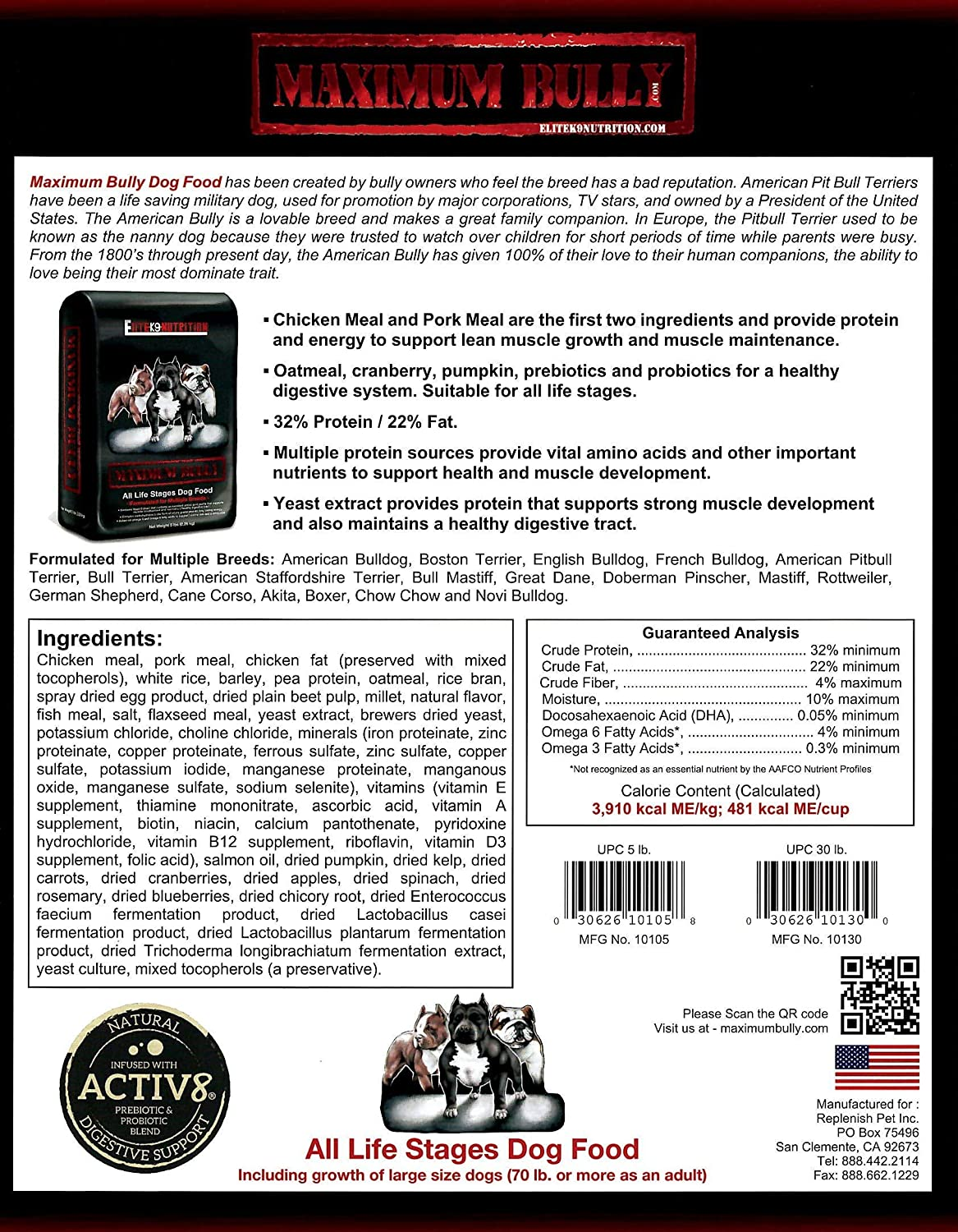 Amazoncom Maximum Bully Elite K9 Nutrition Chicken And Pork Dog