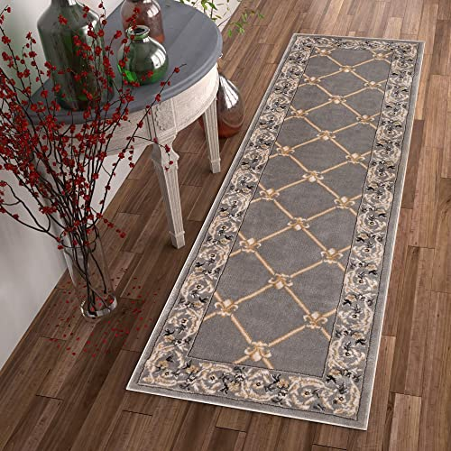 Patrician Trellis Grey Lattice Area Rug European French Formal Traditional Area Rug 2 x 7 Runner Easy Clean Stain Fade Resistant Shed Free Classic Contemporary Thick Soft Plush Living Dining Room