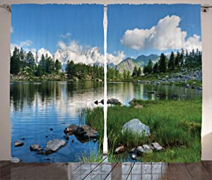 """Ambesonne Landscape Curtains, Nature Landscape Forest and Lake in Italy Rural Mediterranean Countryside, Living Room Bedroom Window Drapes 2 Panel Set, 108"""" X 84"""", White Blue"""