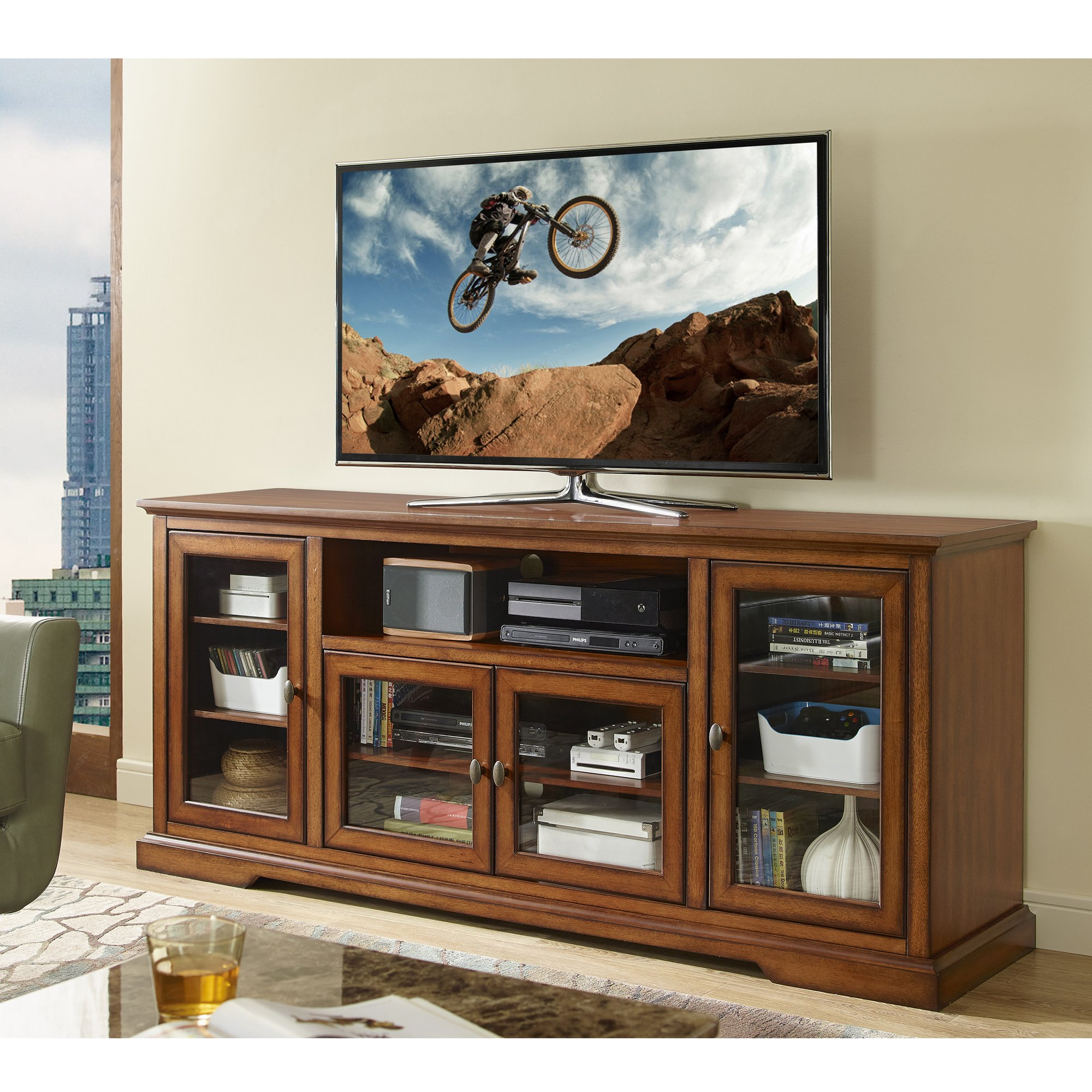 New 70 Inch Wide Highboy Style Wood Tv Stand-Rustic Brown Finish