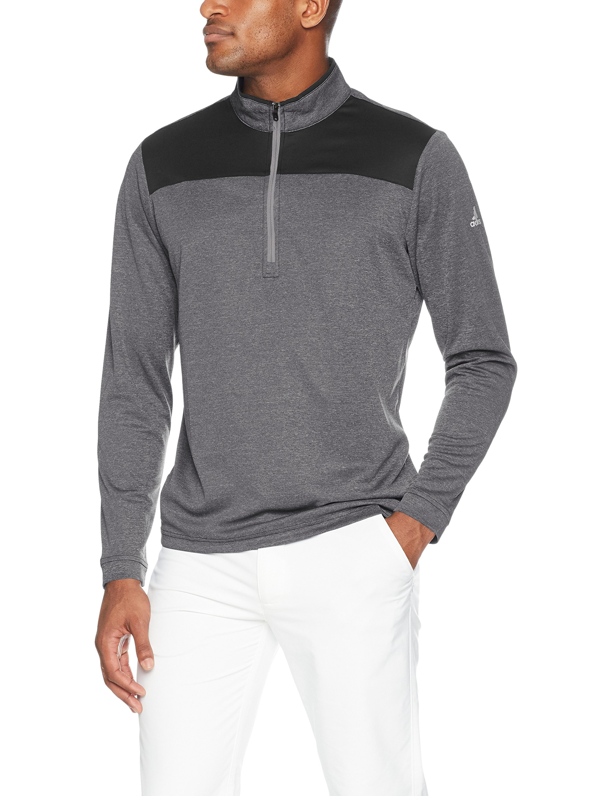 adidas Golf Men's Lightweight UPF 1/4 Zip Pullover Jacket, Carbon Heather, Large by adidas
