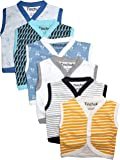 NammaBaby Cotton Front Open Sleeveless JHABLA Summer WEAR Vest- Tshirt New Born Clothes -Multi Print Set of 6