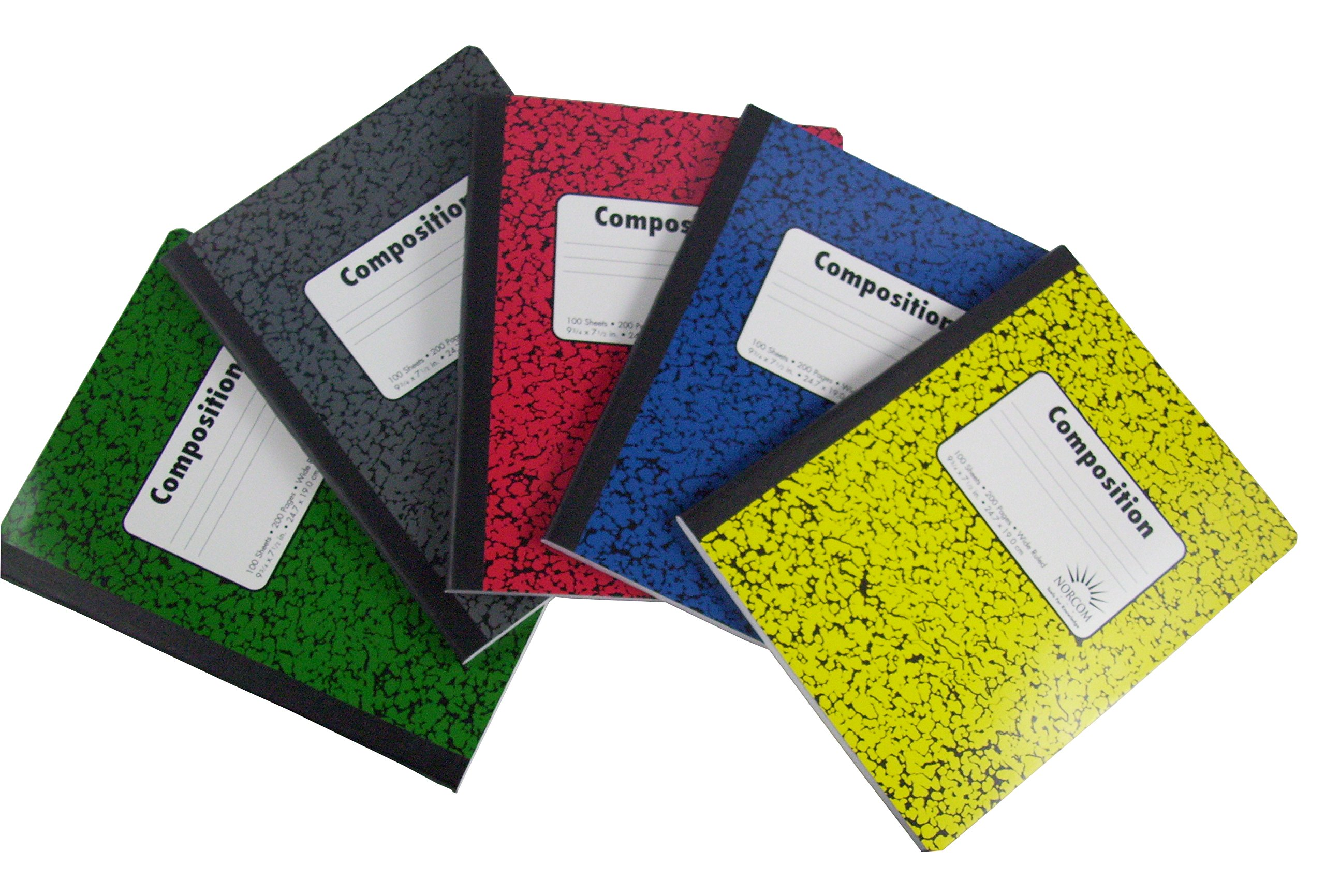 Norcom Wide Ruled 100 Sheets Composition Notebooks 5-Pack - Green, Red, Yellow and Blue, Black/Gray (Variety)