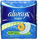 Always Maxi Unscented Pads without Wings, Long/Super, 22 Count