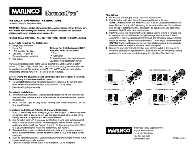 Marinco 12vcp6 Connectpro 12 Volt Charging And Trolling Rh 50 Plug Wiring Diagram Motor