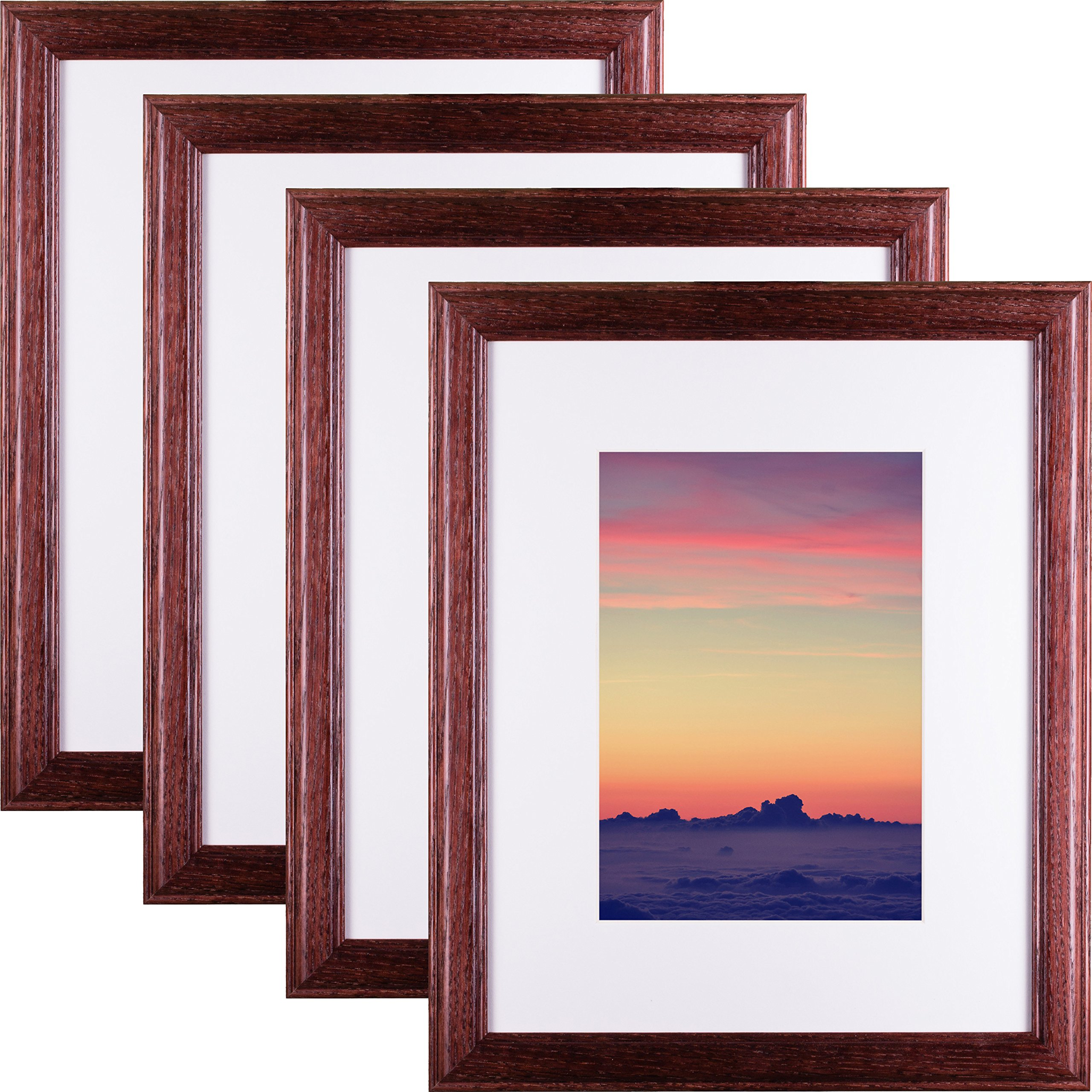 Craig Frames Wiltshire 236 Hardwood Picture Frame with Single White, Displays a 16 x 20 Inch Print with the Mat or 20 x 24 Inch without the Mat, Red, Set of 4