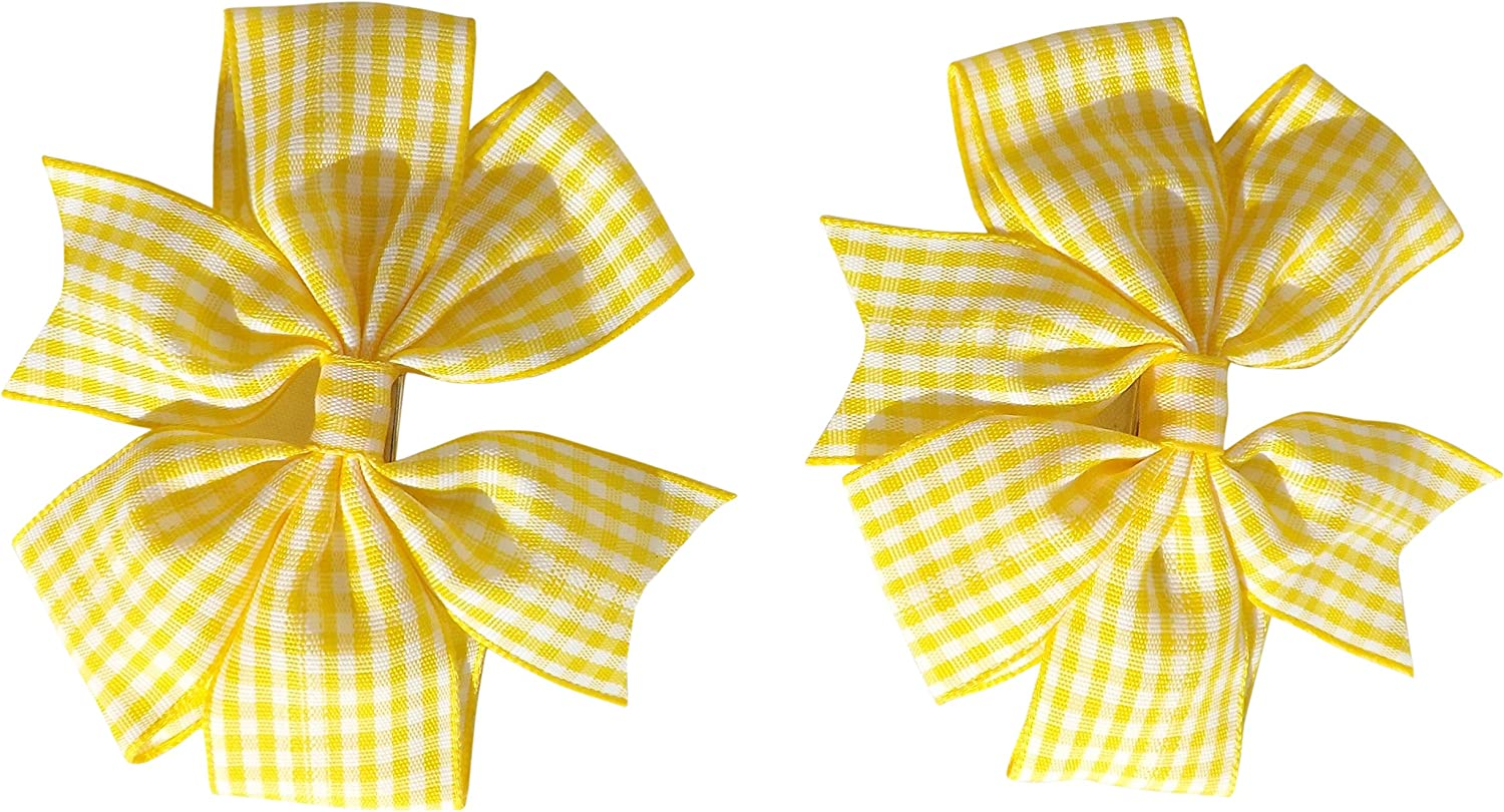 Yellow beautifull Gingham School Hair clip kids nice set and single