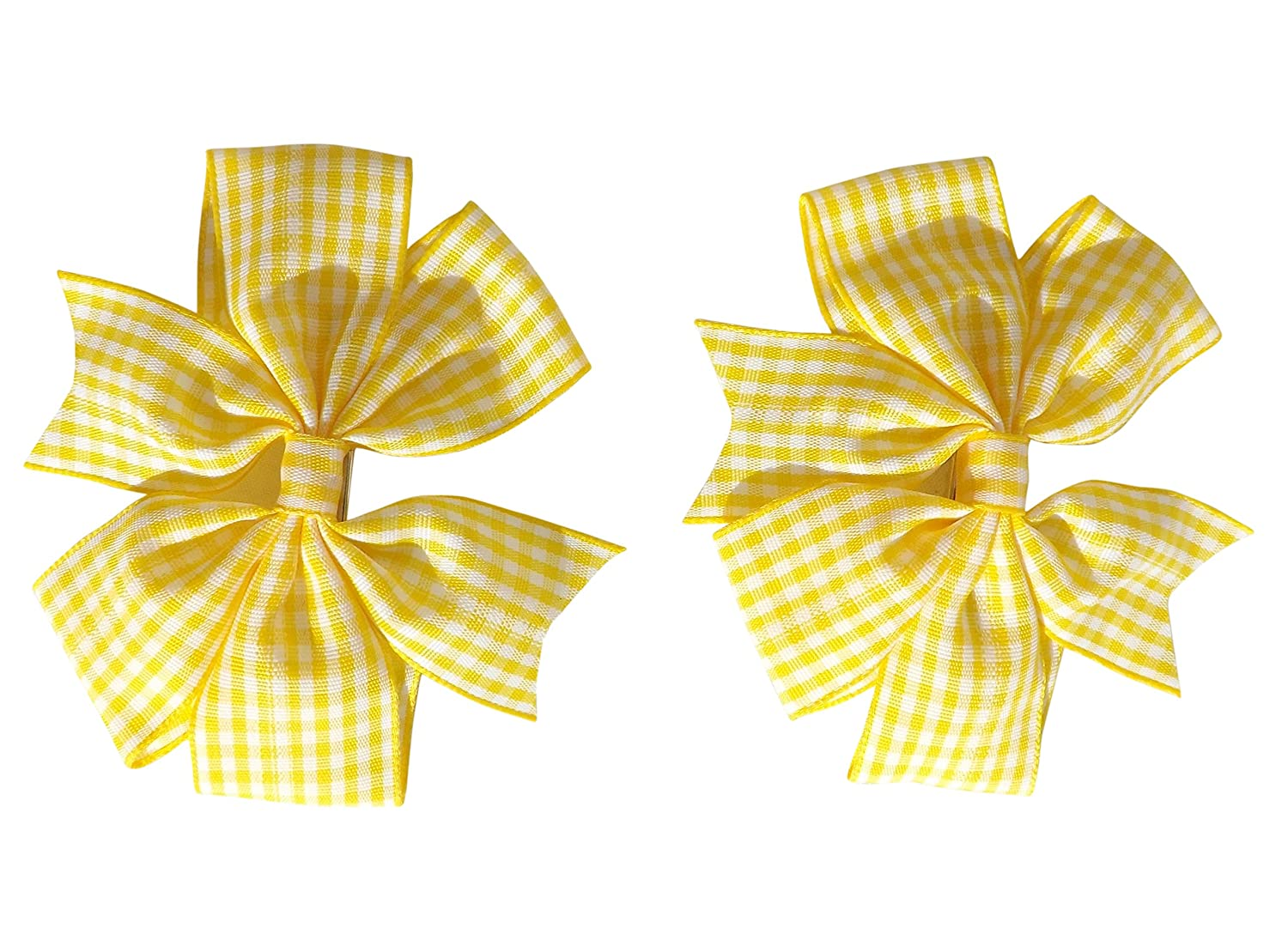 2 x Yellow Gingham Check Hair Bows Hair Clips Ideal for Matching BTS Back to School Summer Dress's Uniform