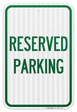 Reserved Handicap Parking Reflective .063 Aluminum 12 x 18 Sign w Mounting Holes