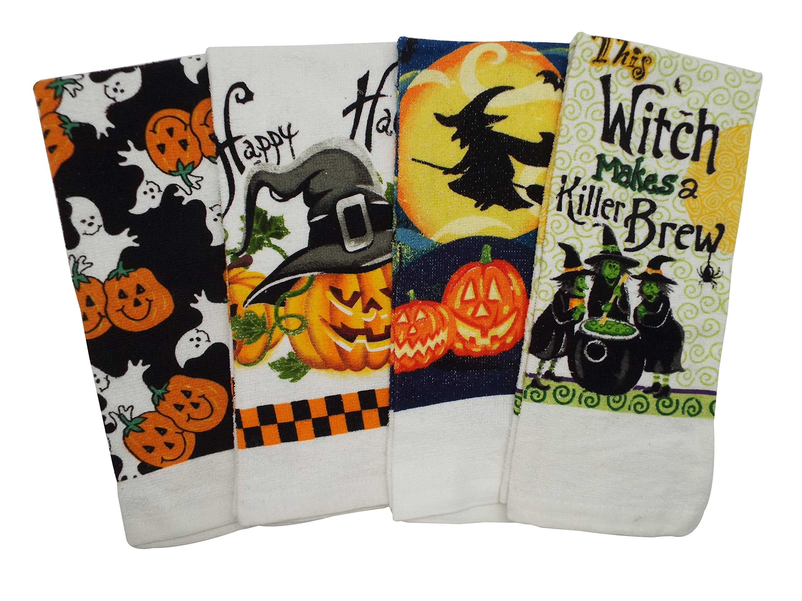Halloween Print Kitchen Towels - 4 Assorted Designs - 15 x25 Inches
