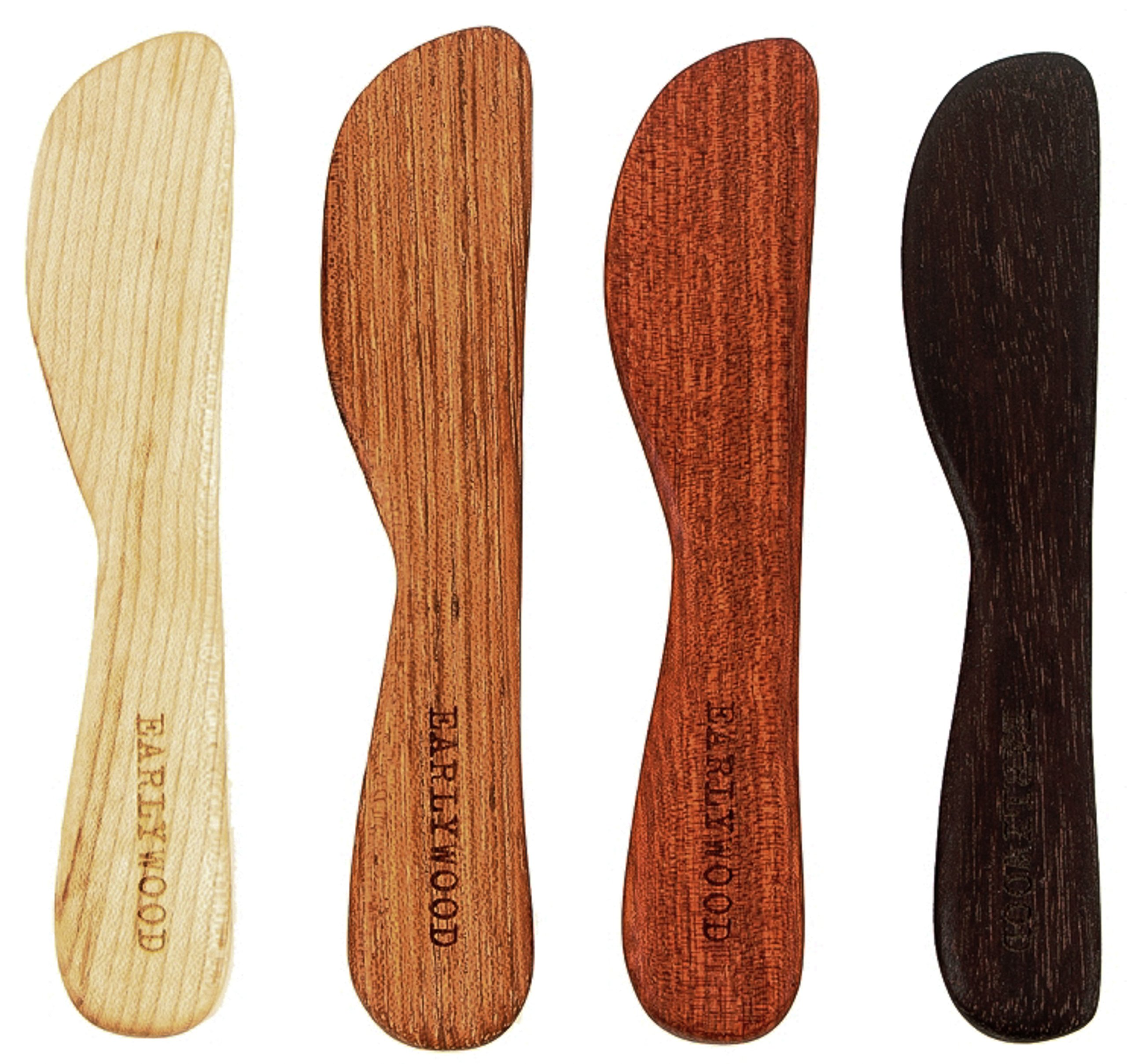 Earlywood Small Spreader Set - Handmade Hardwood 4-Piece Cheese Serving Set - Bloodwood, Hard Maple, Jatoba, Mexican Ebony by Earlywood (Image #1)