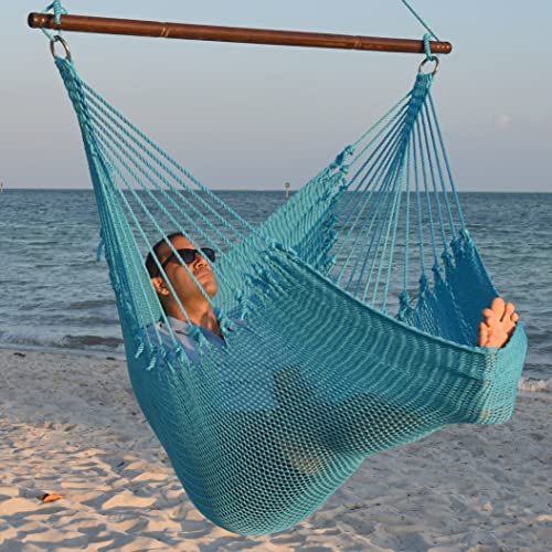 Jumbo Caribbean Hammock Chair with Footrest – 55 inch – Soft-Spun Polyester – Light Blue