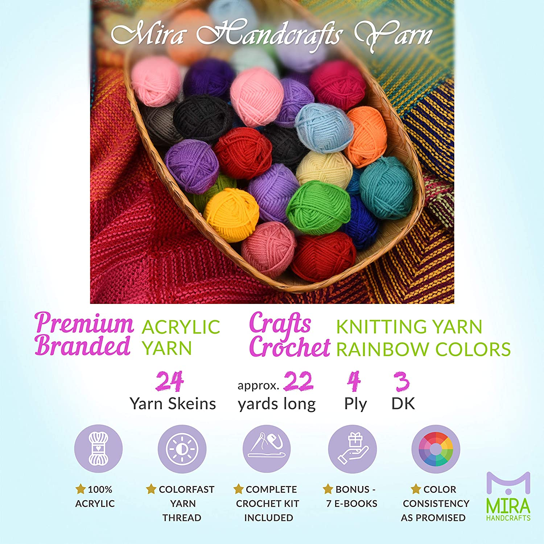 10 Palline di arte del crochet//lavoro a maglia 25g Palline di filati Acrilico Vari Colori