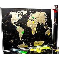 Mappa del Mondo da Grattare  – Qualità premium Silver Deluxe Edition – Personalizzato Travel Tracker poster – share e ricorda il tuo viaggio Adventures –  Scratchable Mappa del Mondo (Black)