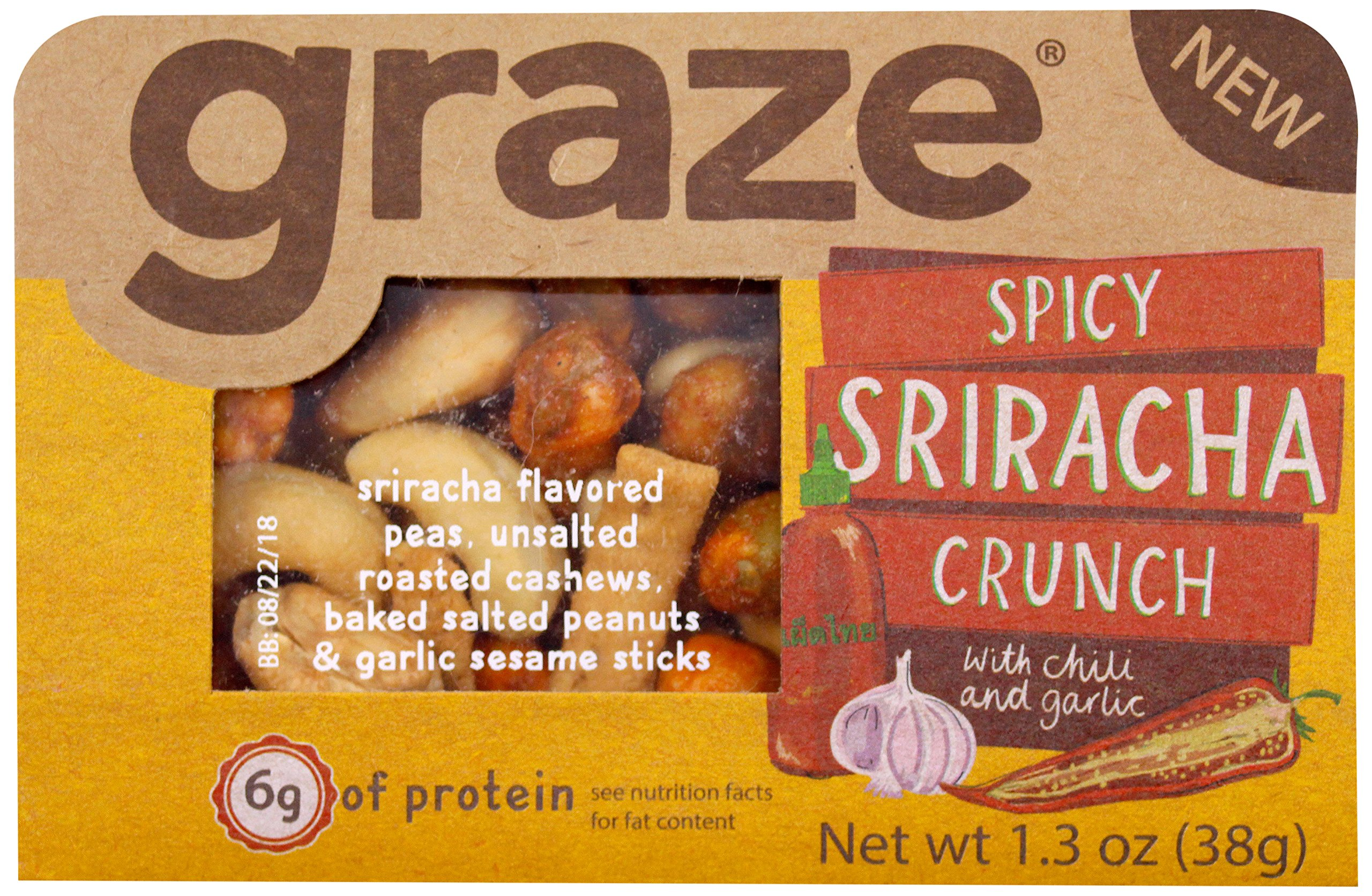 Graze Natural Spicy Sriracha Crunch Snack with Sriracha Peas, Roasted Cashews, Baked Salted Peanuts and Garlic Sesame Sticks, Healthy, Tasty, Natural Nut Trail Mix, 1.3 Ounce Box, 9 Pack by Graze