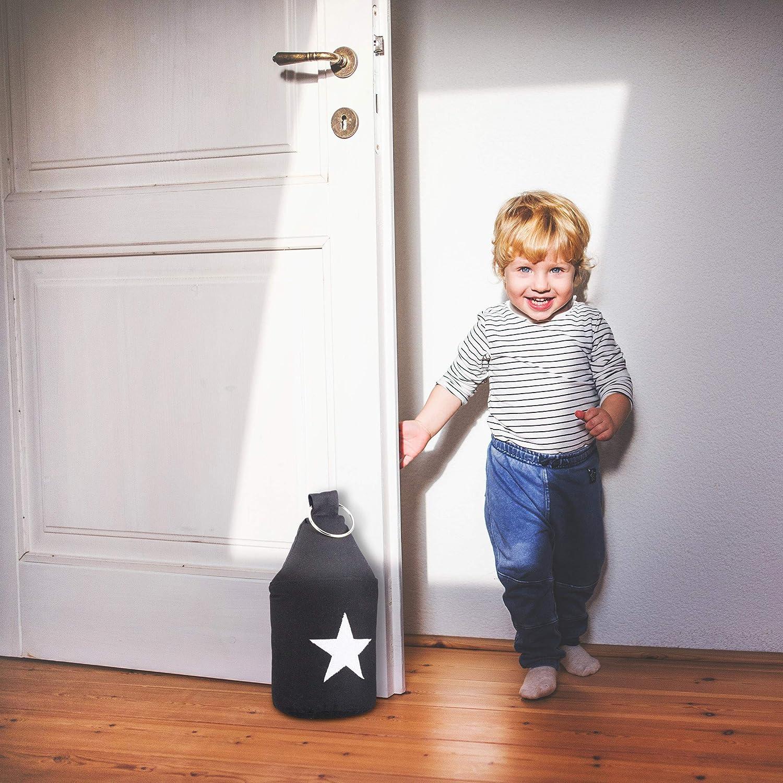 Relaxdays 3X Cale Porte bloqueur de Porte Tissu /étoile Sable poign/ée arr/êt de Porte butoir de Porte HxlxP:25 x 12 x 12 cm Noir