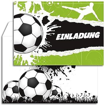 12x Geburtstagseinladungen Mit Umschlagen Fussball Party Einladungskarten Set Fur Geburtstag Kinder Fur Jungen Madchen Einladung