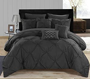 Chic Home Hannah 8 Piece Pinch Ruffled and Pleated Complete Bed, Twin - Comforter, Black
