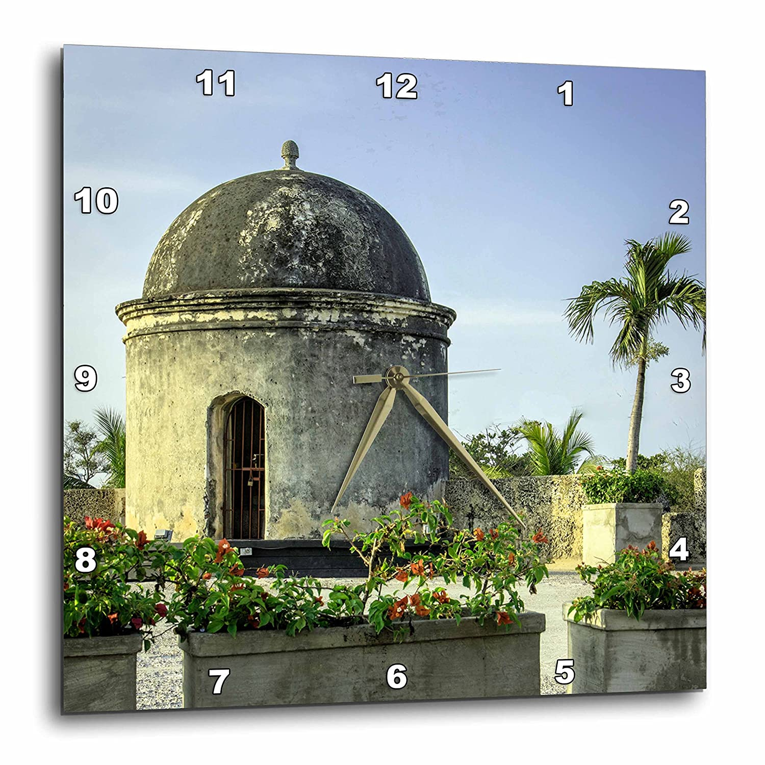 3D Rose Spanish Colonial Architecture of The Old City of Cartagena Colombia Wall Clock 15 x 15