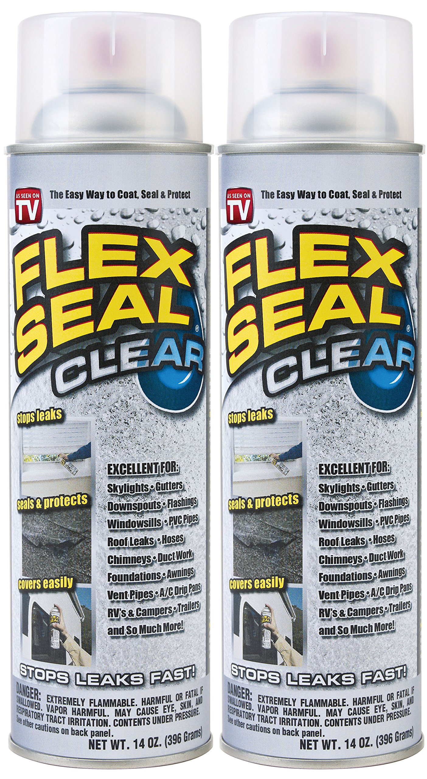 Flex Seal Spray Rubber Sealant Coating, 14-oz, Clear (2 Pack) by Flex Seal