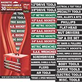 "Steellabels - ""Magnetic"" Tool Box Organizer Labels (green edition) organize tool chest drawers & cabinets ""Quick & Easy"" color coded with bright white lettering & fully adjustable"