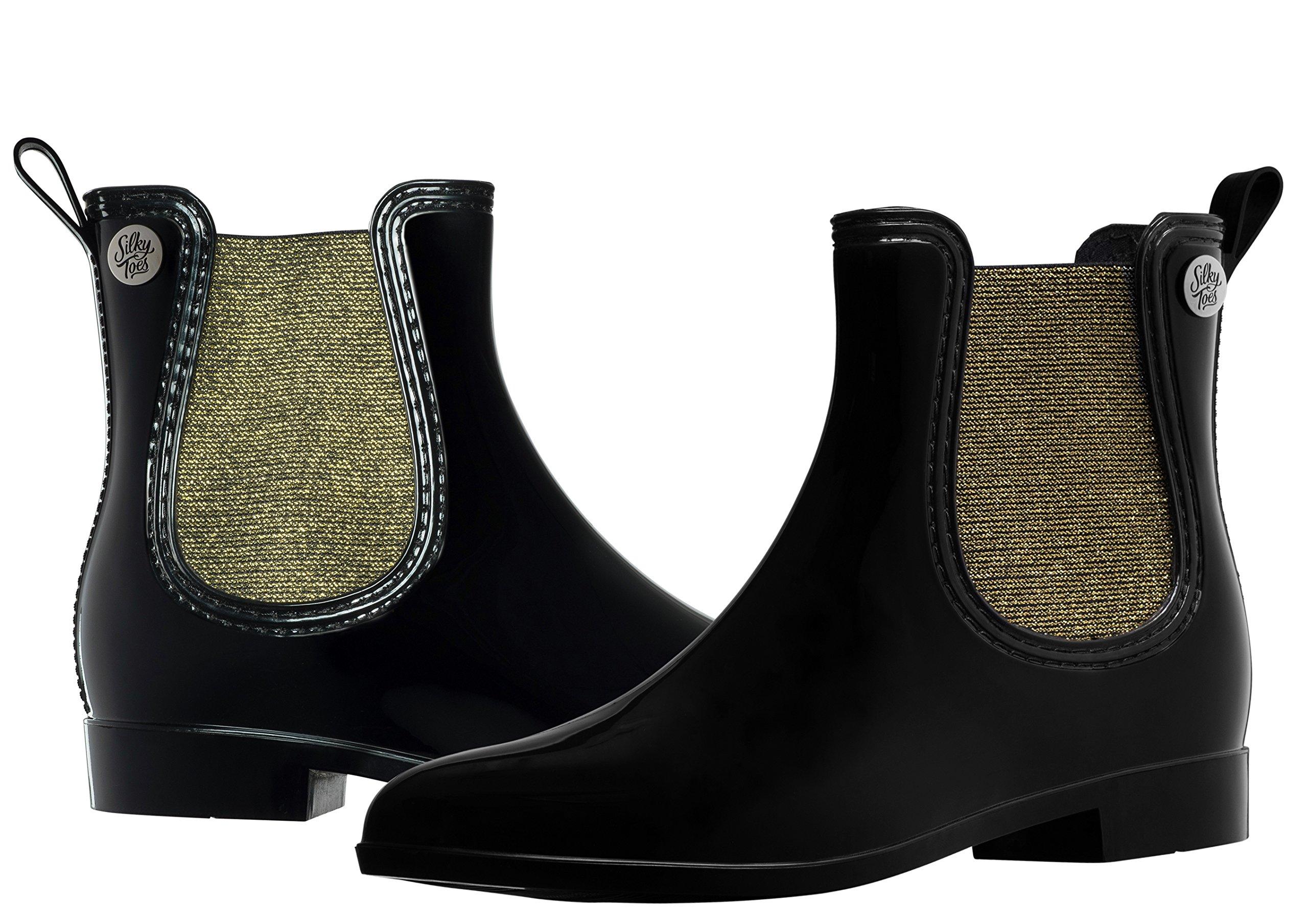 Silky Toes Women's Fashion Elastic Slip On Short Rain Boots (40, Black with Gold Metallic Elastic)