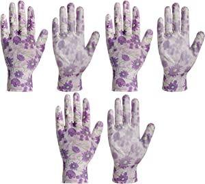 Large Nitrile Garden Gloves for Ladies and Women - Pack of 3 - Perfect Heavy Duty Small Rubber Gardening Cute Gloves for Girls and Womens