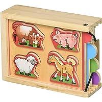 Melissa & Doug Animals Wooden Mini-Puzzle Set with Storage and Travel Case