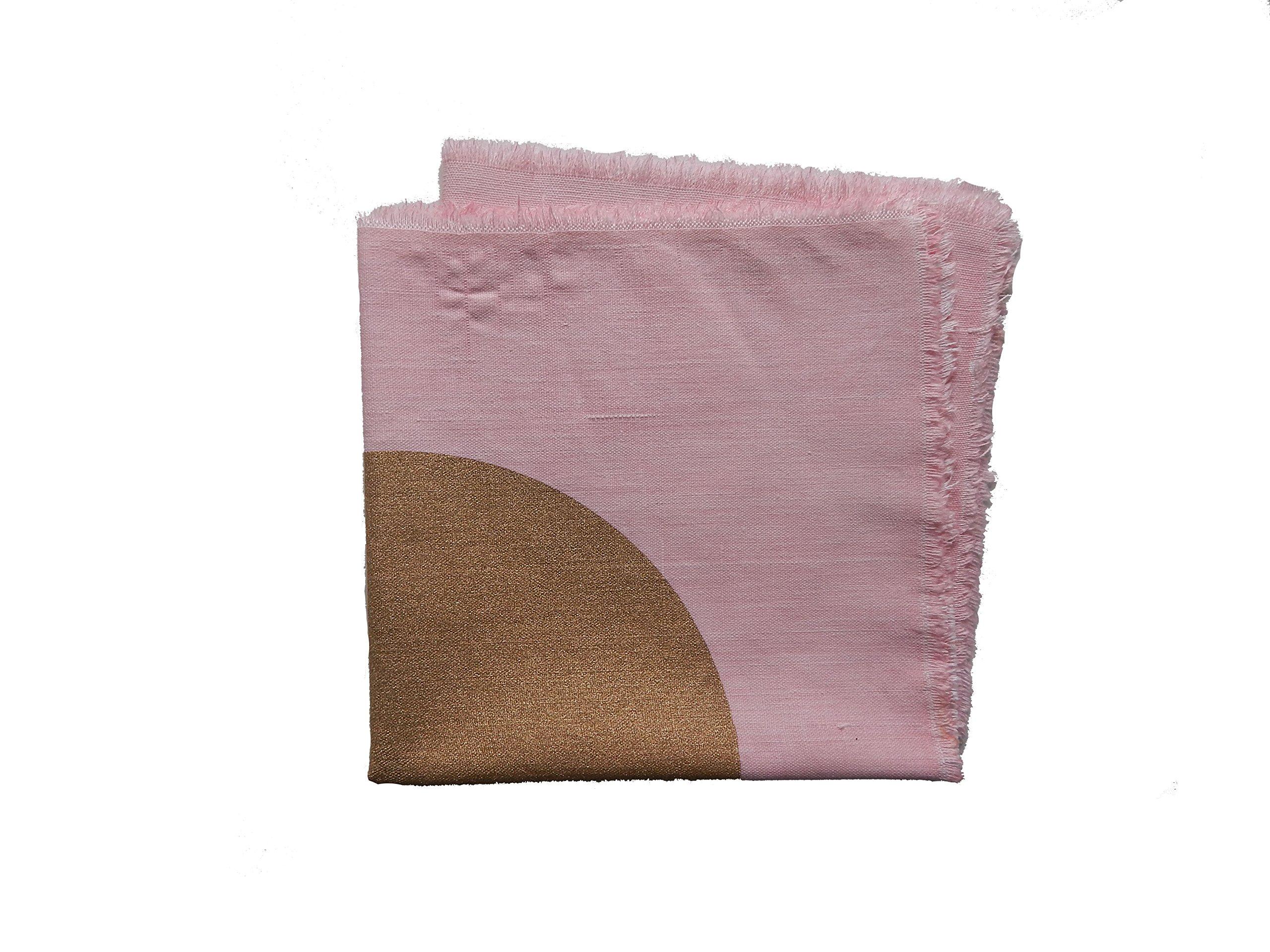 Gitika Goyal Home Cotton Khadi Gold Screen Printed 17x17 Napkin Centre Dot Design (Set of 4), Pink