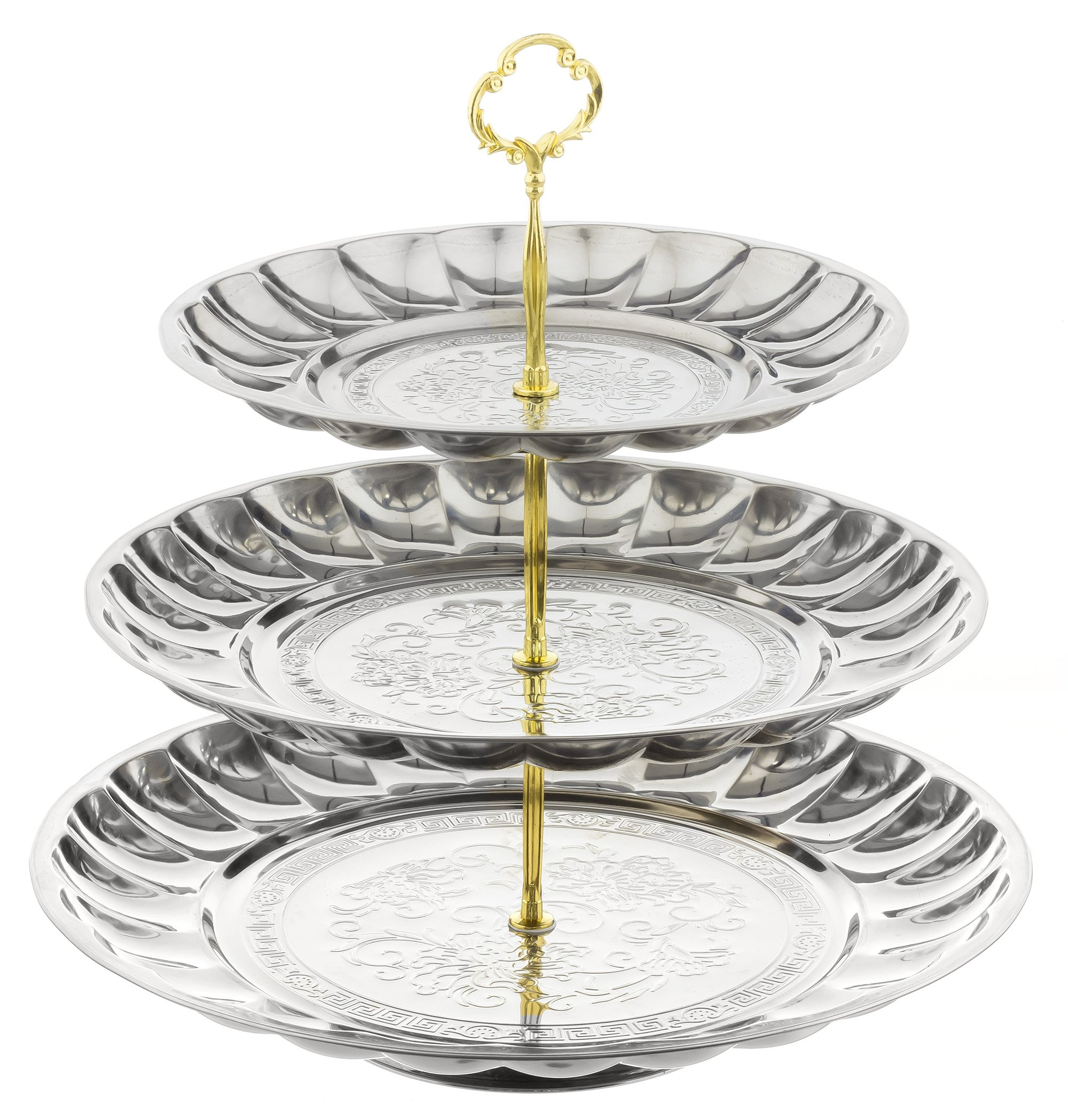 Extra Large 3 Tier Serving Tray(Stainless Steel)-Great Use for Cake and Cupcake Stand,Appetizer and Platter Tray,Fruit and Cheese/Meat Tray.Tiered Stand is Perfect for Party Wedding BBQs and Holidays