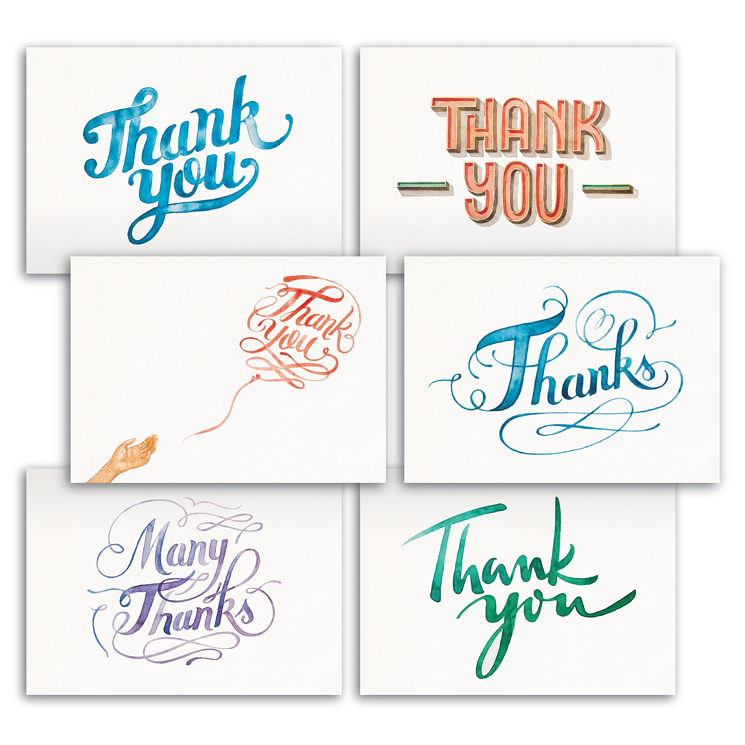 Hand Painted Watercolor Thank You Note Cards 48 Bulk - Like Handmade Cards Box Set - Contains Blank Cards with Envelopes - 6 Special Designs by Papertopia