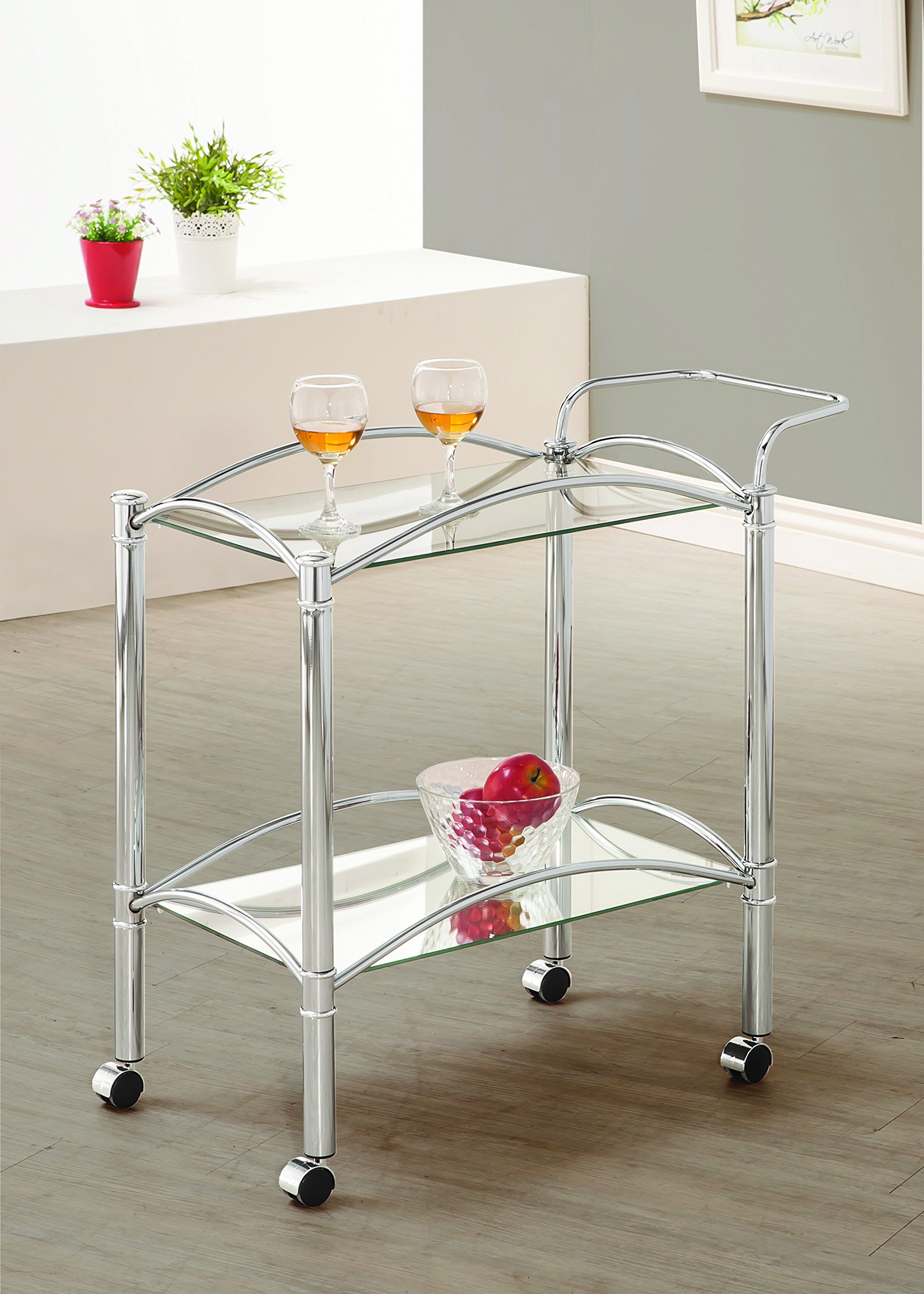 Coaster Traditional Chrome Serving Cart with Mirrored Bottom Shelf and Casters