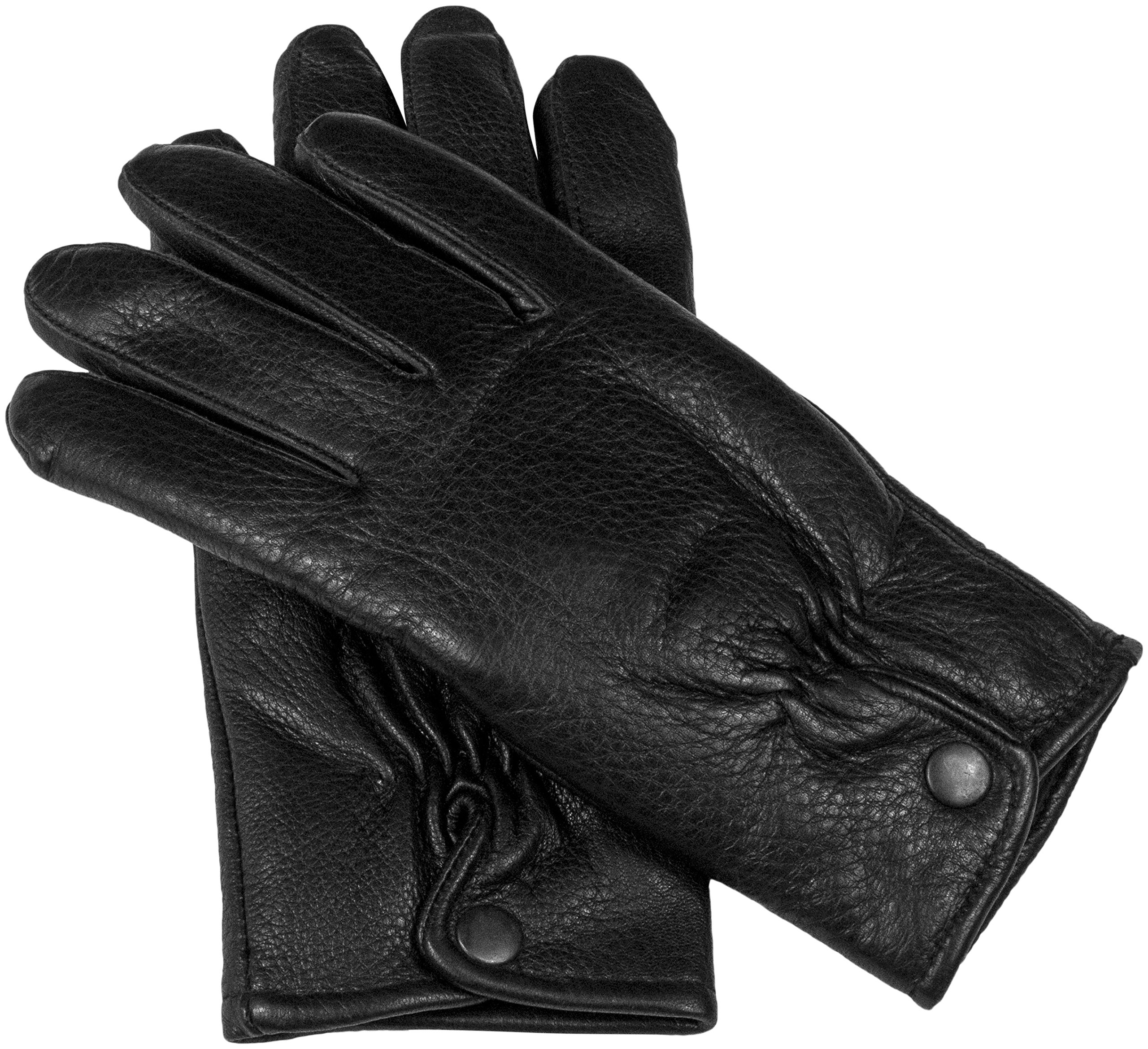 Women's Luxury Deerskin Leather Winter Gloves with Warm Insulated Fleece Lining (S/M, Black)