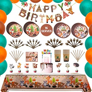 Woodland Animal birthday Party Tableware Supplies Set Including Banner, Paper Plates, Cups, Banner,Table Cover and Napkins Serves 16 Guests for Forest Creatures Animal Theme Decorations