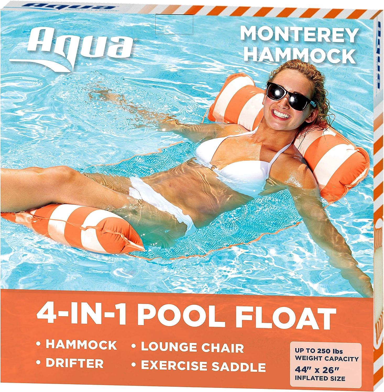 AQUA 4-in-1 Monterey Hammock Inflatable Pool Float, Multi-Purpose Pool Hammock (Saddle, Lounge Chair, Hammock, Drifter) Pool Chair, Portable Water Hammock, Orange/White Stripe