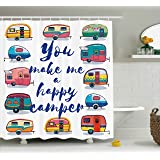 Camper Shower Curtain By Ambesonne, You Make Me Happy Camper Motivational  Quote With Caravans Retro