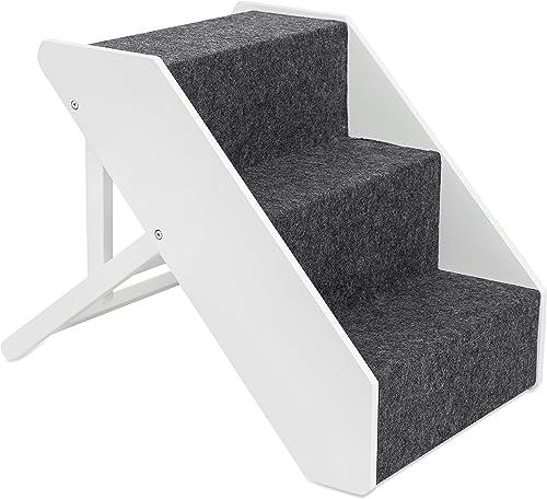B01LZDTDRJ Adjustable Pet Steps Espresso White Cat Dog Bed Car Step