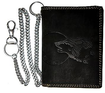 0e851037f1481 Hochwertige Geldbörse Geldbeutel Portemonnaie Büffel Wild Leder Wolf Mond  geprägt Kette