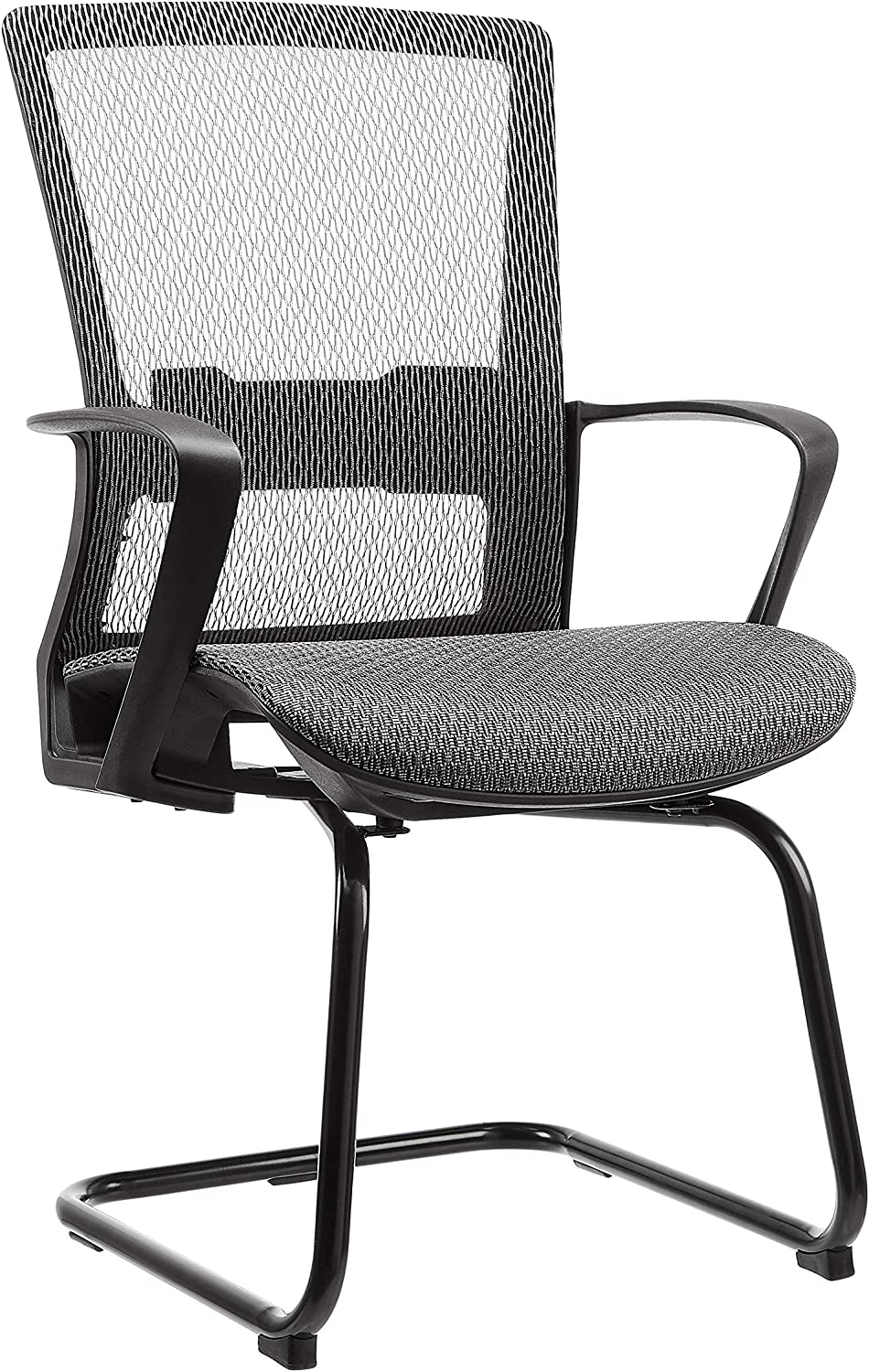 AmazonBasics Mid-Back Guest/Reception Chair, with Contoured Mesh Seat – Grey
