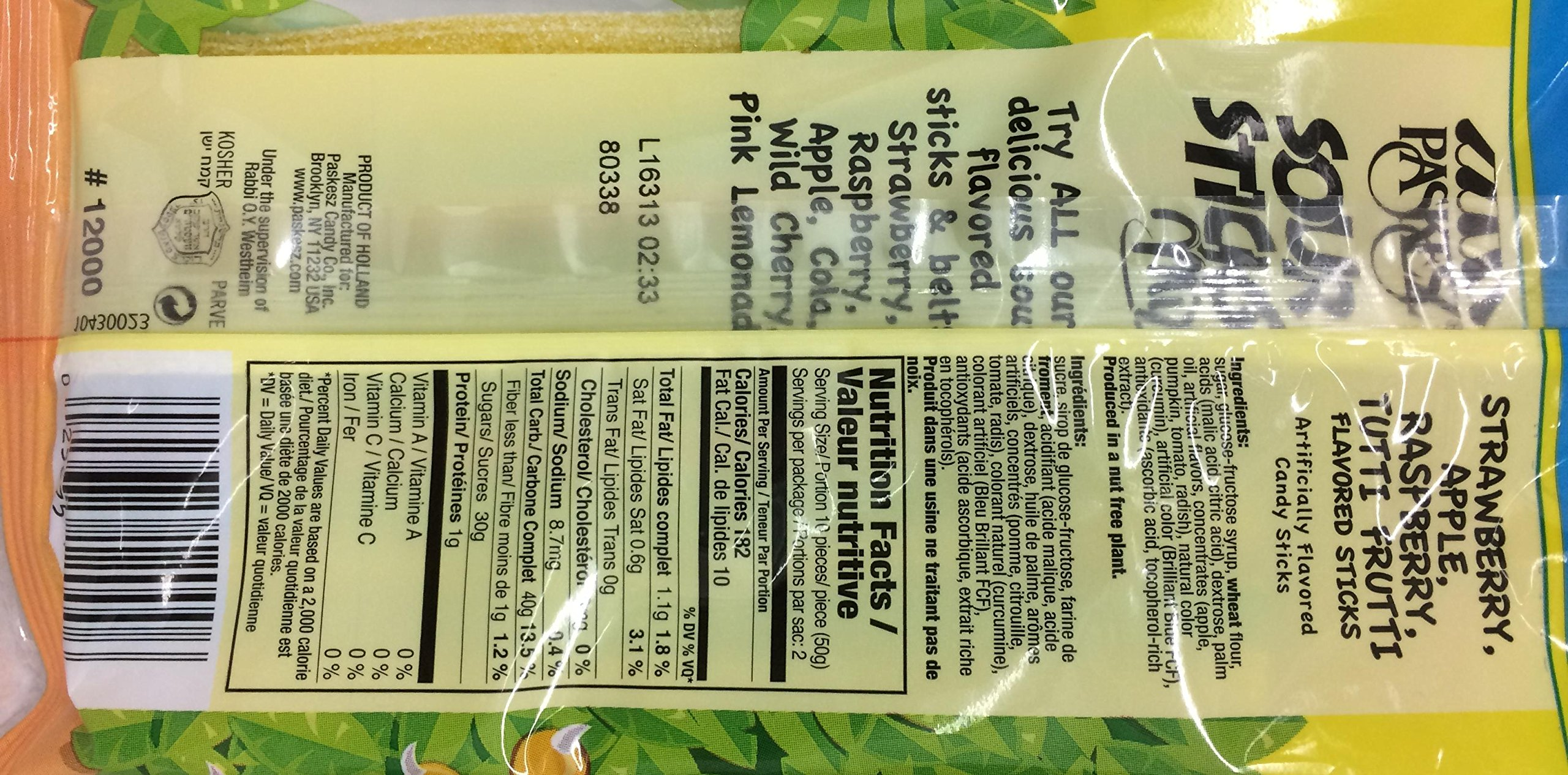 Paskesz Sour Sticks Mix Multi Flavored 3.5 Oz. Pack Of 3.