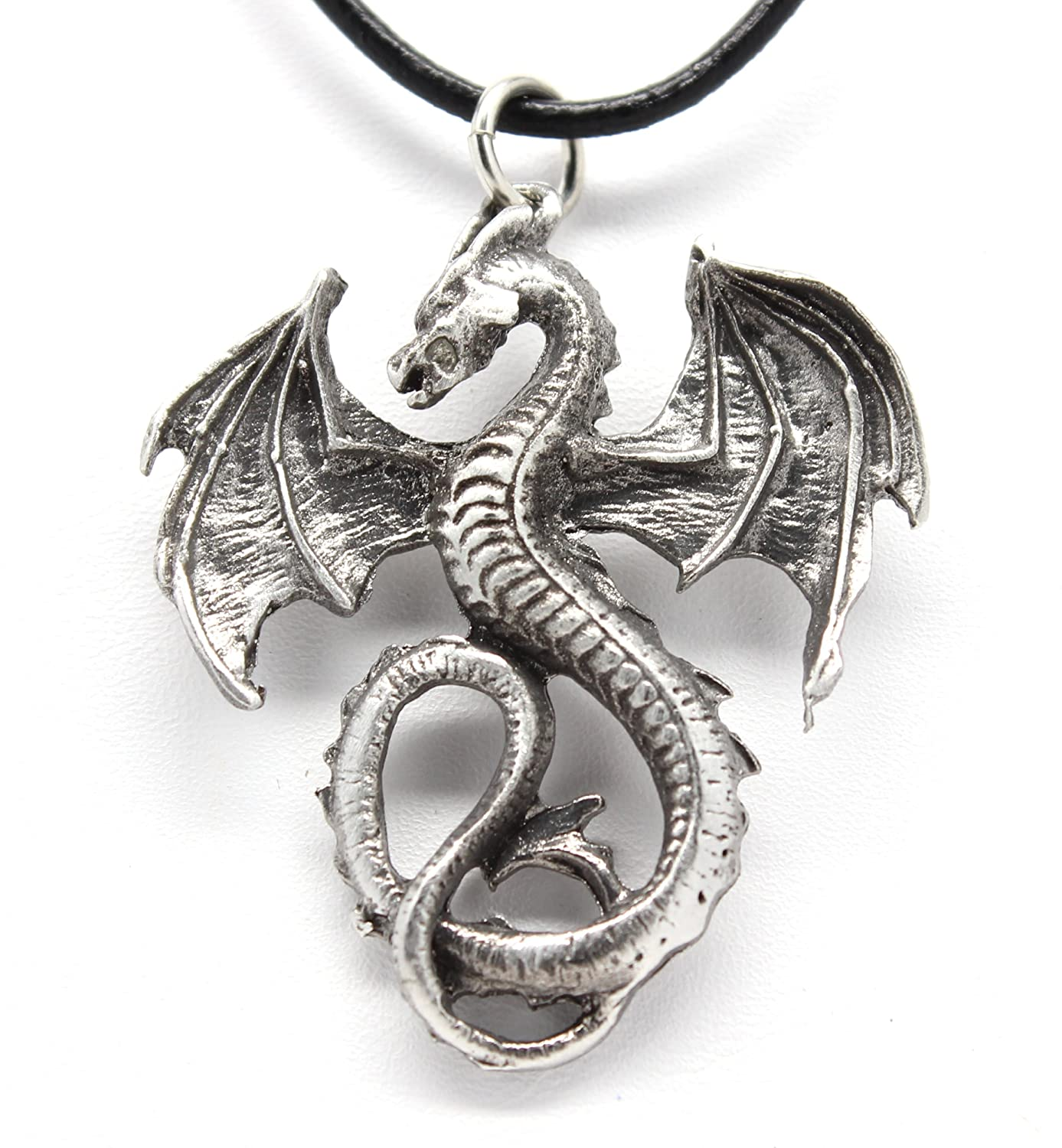 Amazon pewter dragon gothic fantasy pendant on leather necklace amazon pewter dragon gothic fantasy pendant on leather necklace jewelry aloadofball Image collections