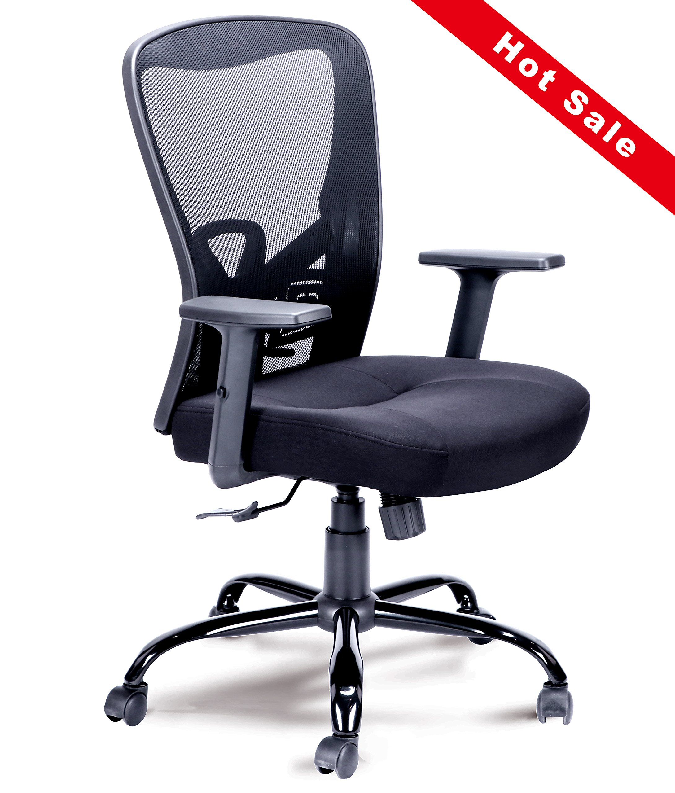 Mid-Back Mesh Chair Swivel Office Computer Chair with Adjustable Armrests Comfortable Seating(Black)