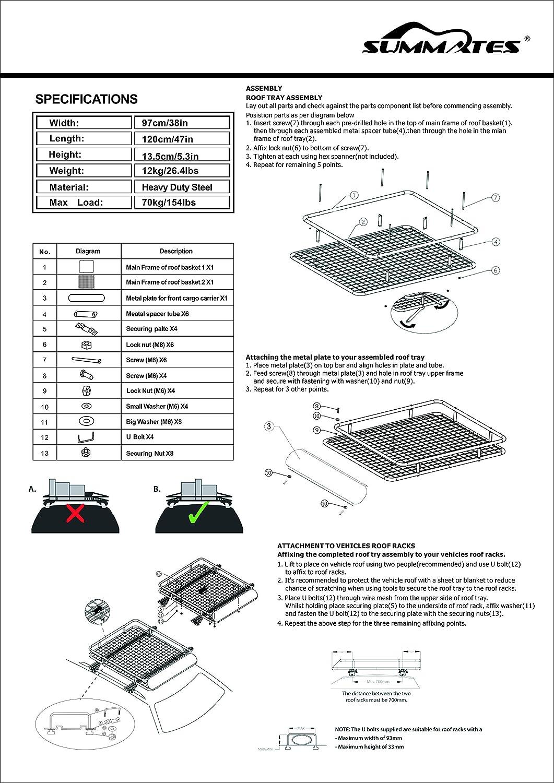 47 x 39 x 5.5 Summates 47 Universal Roof Cargo Rack Roof Basket