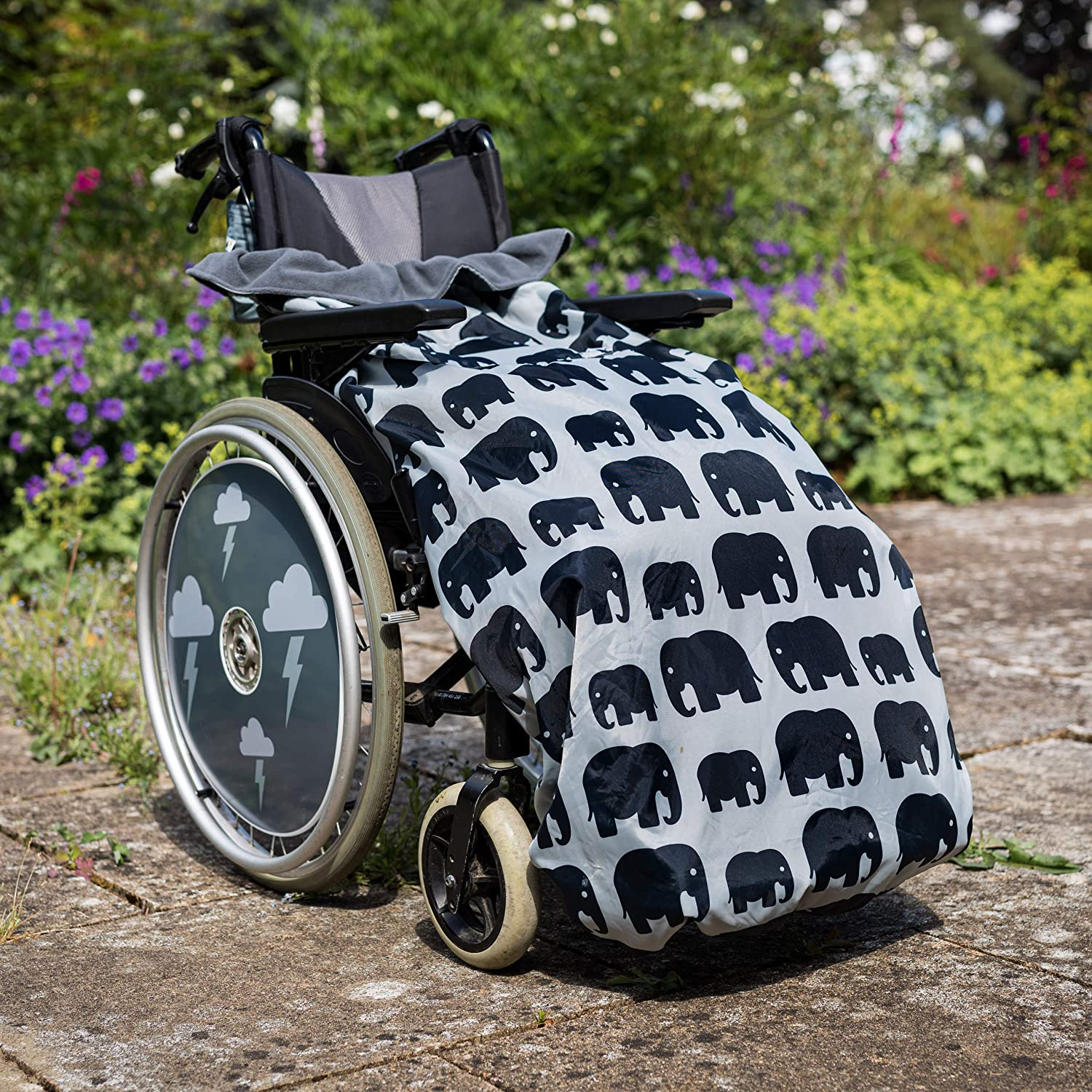 100% Waterproof Fleece lined Wheelchair Cosy Cover | Universal fit for manual and powered wheelchairs | Adult Size (grey elephant)